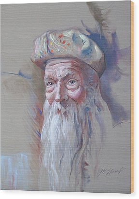 Wood Print featuring the pastel Frank by John Norman Stewart