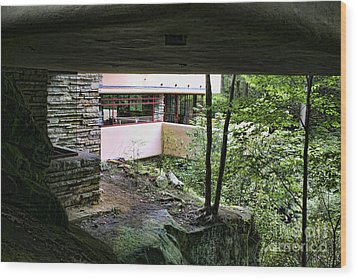 Frank Lloyd Wright Falling Water Wood Print by Chuck Kuhn