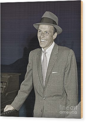 Frank Sinatra On Set Wood Print by Martin Konopacki Restoration