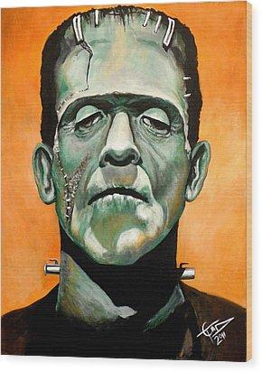 Frankenstein Wood Print by Tom Carlton