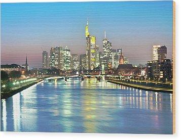 Frankfurt  Night Skyline Wood Print by Ixefra