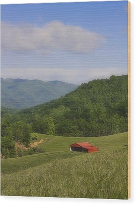 Franklin County Virginia Red Barn Wood Print by Teresa Mucha