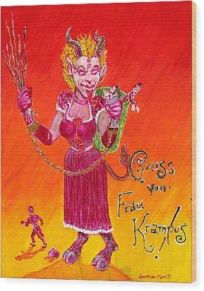 Frau Krampus Wood Print