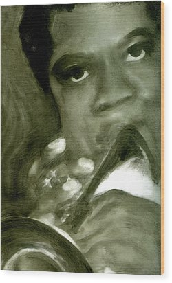 Wood Print featuring the painting Freddie Hubbard by FeatherStone Studio Julie A Miller
