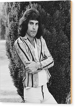 Wood Print featuring the photograph Freddie Mercury Of Queen 1975 #2 by Chris Walter