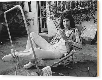 Wood Print featuring the photograph Freddie Mercury Of Queen 1975 #3 by Chris Walter