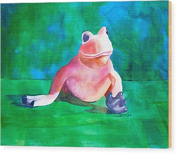 Wood Print featuring the painting Freddy The Frog by Sharon Mick
