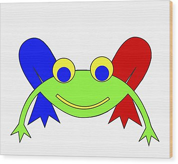 Frederic The Frog Wood Print by Asbjorn Lonvig