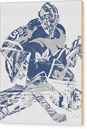 Frederik Andersen Toronto Maple Leafs Pixel Art 2 Wood Print