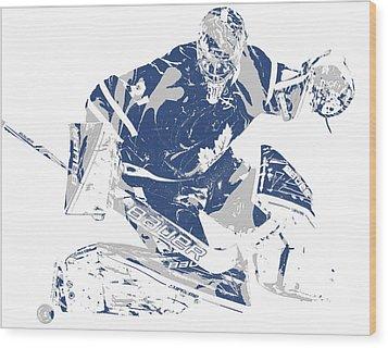 Frederik Andersen Toronto Maple Leafs Pixel Art 5 Wood Print