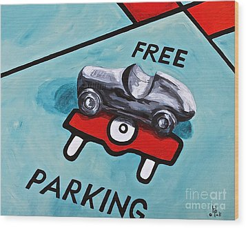 Free Parking Wood Print by Herschel Fall