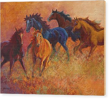 Free Range - Wild Horses Wood Print by Marion Rose