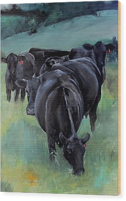 Free Range Cow Girls Wood Print by Michele Carter