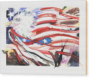 Wood Print featuring the mixed media Freedom by Anthony Burks Sr