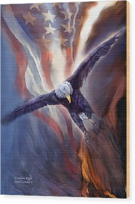 Freedom Eagle Wood Print by Carol Cavalaris
