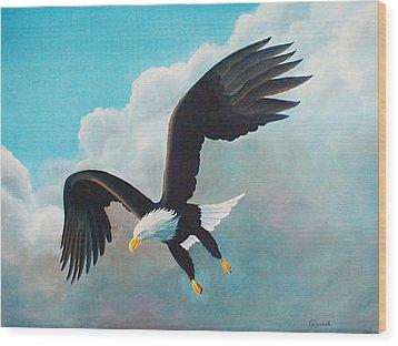 Freedom Eagle Wood Print by Randall Brewer