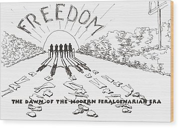 Wood Print featuring the drawing Freedom by R  Allen Swezey