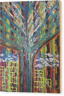 Freetown Cotton Tree - Abstract Impression Wood Print by Mudiama Kammoh