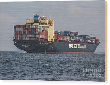 Freighter Headed Out To Sea Wood Print