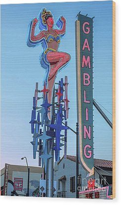 Fremont Street Lucky Lady And Gambling Neon Signs Wood Print