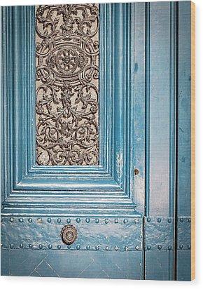 French Blue - Paris Door Wood Print by Melanie Alexandra Price