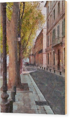 Wood Print featuring the photograph French Boulevard by Scott Carruthers