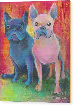 French Bulldog Dogs White And Black Painting Wood Print by Svetlana Novikova