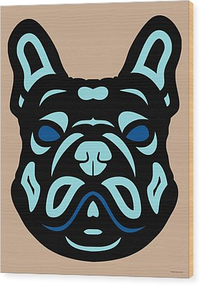French Bulldog Francis - Dog Design - Hazelnut, Island Paradise, Lapis Blue Wood Print by Manuel Sueess