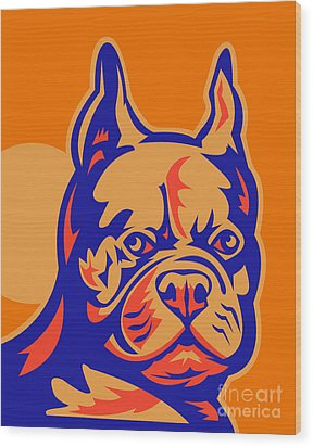 French Bulldog Head Portrait Retro Wood Print by Aloysius Patrimonio