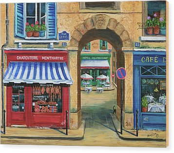 French Butcher Shop Wood Print by Marilyn Dunlap