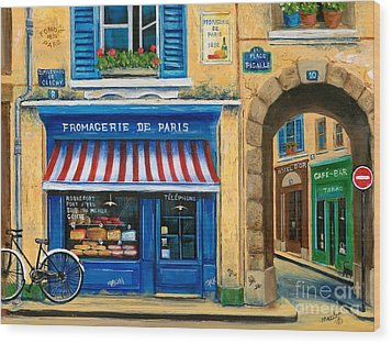 French Cheese Shop Wood Print by Marilyn Dunlap