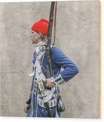 French Colonial Soldier French And Indian War  Wood Print by Randy Steele