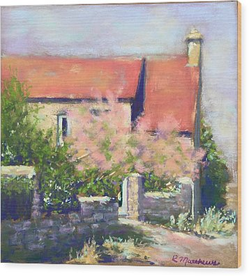 Wood Print featuring the pastel French Cottage by Rebecca Matthews