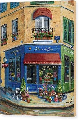 French Flower Shop Wood Print by Marilyn Dunlap