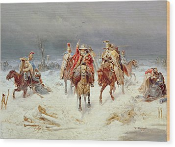French Forces Crossing The River Berezina In November 1812 Wood Print by Bogdan Willewalde
