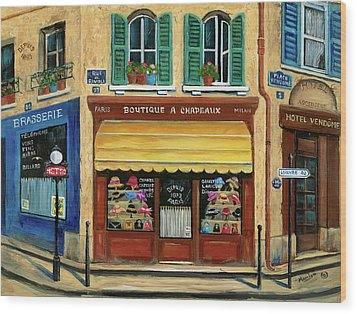 French Hats And Purses Boutique Wood Print by Marilyn Dunlap