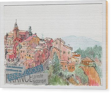 Wood Print featuring the painting French Hill Top Village by Tilly Strauss