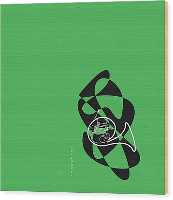 French Horn In Green Wood Print