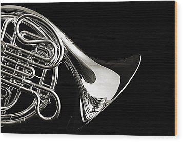 French Horn Isolated On Back Wood Print by M K  Miller