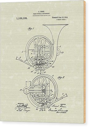 French Horn Musical Instrument 1914 Patent Wood Print by Prior Art Design