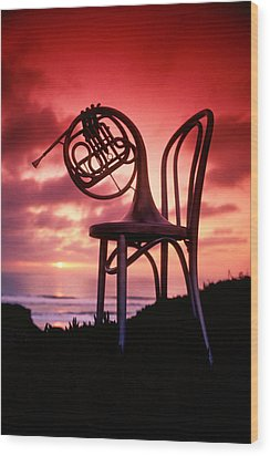 French Horn On Chair Wood Print by Garry Gay