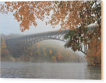 French King Bridge Autumn Fog Wood Print by John Burk