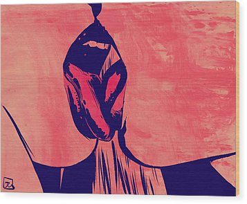 Wood Print featuring the drawing French Kiss by Giuseppe Cristiano
