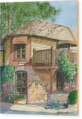 Wood Print featuring the painting French Laundry Restaurant by Gail Chandler