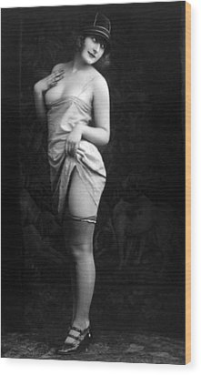 French Lingerie Model, Circa 1920 Wood Print by Everett