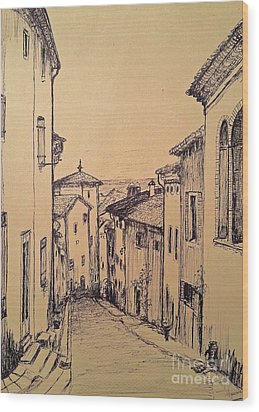French Little Town Drawing Wood Print