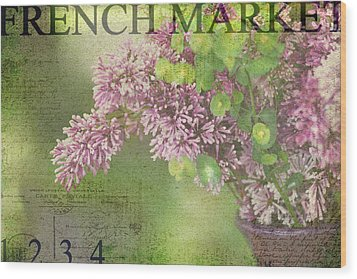 French Market Series M Wood Print by Rebecca Cozart