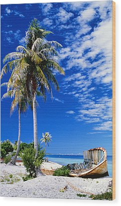 French Polynesia, Beach Wood Print by Peter Stone - Printscapes