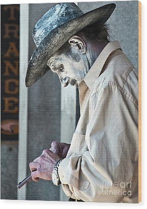 French Quarter Cowboy Mime Wood Print by Kathleen K Parker