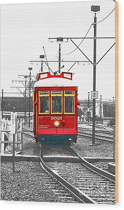 French Quarter French Market Cable Car New Orleans Color Splash Black And White With Film Grain Wood Print by Shawn O'Brien